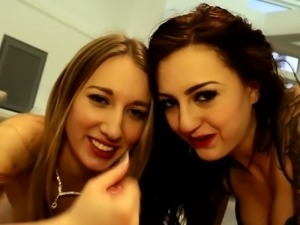 Hot double BJ with two cum hungry babes