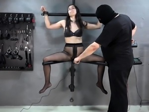 Electric dildo in the pussy of Aijana