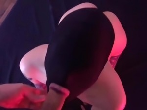 Blindfolded submissive slut greedily sucking Master's dick