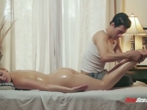 All oiled sexy curvy babe Giselle Palmer gets her big boobs massaged