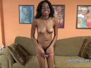 Ebony hottie Melody Cummings swallows a stiff white cock