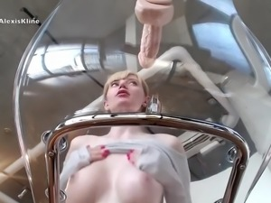 camgirl riding dildo on transparent chair