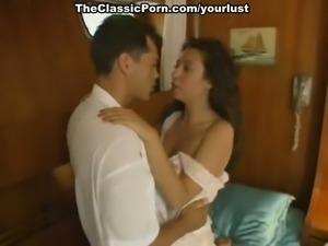 Sweet brunette classic girl in the yacht cabin fucks her boyfriend
