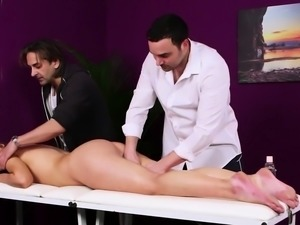 Cocksucking babe facialized after massage