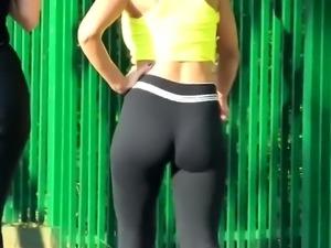 Street voyeur follows a sexy slender babe with a perfect ass