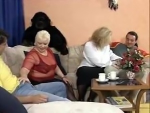TWO GERMAN BBW MILFS FUCKED AND FISTED IN GANGBANG