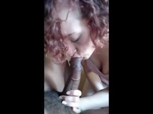 White Chick sucks big black cock