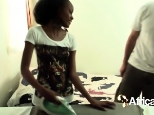 African teen handles white dick and laundry