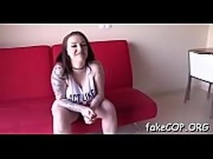 Bawdy fake cop spreads her legs in order to get drilled hard