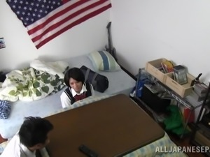 Japanese Teens Having Some Hot Clothed Sex In Their Uniforms