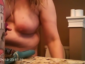 Fat Wife Tits Shaking After Shower Brushing Blonde Hair
