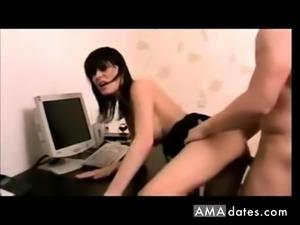 Amateur sexy brunette creampied
