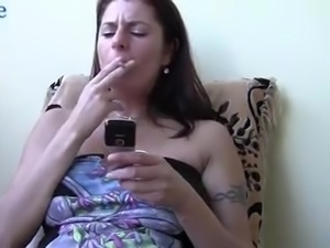 Lusty all alone lady Maike gets rid of her clothes to tease her slit a bit