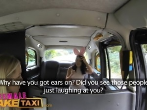 FemaleFakeTaxi Cute Asian has Lesbian bonnet sex with tits