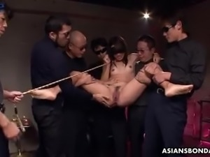 Tied up and held by some dudes Anna Takizawa gets fucked damn well