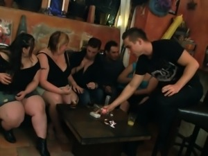 Wild plump babes are striping and sucking cocks