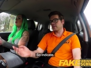 Fake Driving School Busty learner is wet and horny