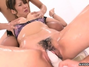Slippery dame sucking cocks and getting real sticky with it