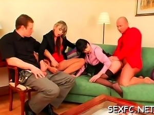 Amazing sweethearts in hardcore trio while clothed