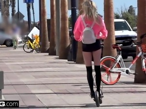 Bisexual teen Chloe Foster flashes her pussy in public