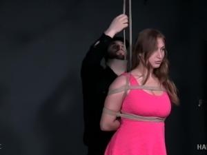 Rather flexible slut Skylar Snow has to know what hardcore bondage is