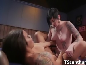 Busty ts straponfucked before getting a bj
