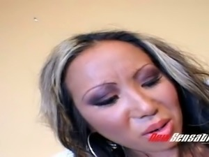 Nasty milf Jazzmine banged hard from behind by a white guy