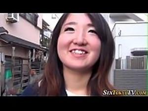 Japanese babe flashes