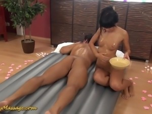 Nice erotic massage in combo with assjob and footjob performed by Gina