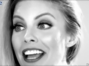 Sexy black and white xxx video where Britney Amber flashes her boobs