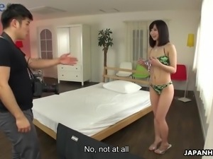 Japanese hottie Erika Akagi gets bent over and fucked doggy style