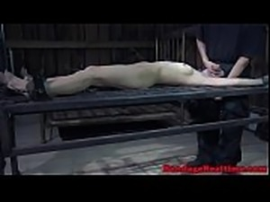 Humiliated babe gagging on masters cock