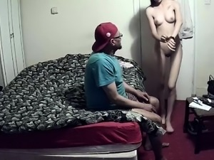 Slim brunette teen gets banged by an older man on hidden cam