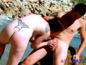 Nude Beach - Hot Mature Fuck and CIM Facial