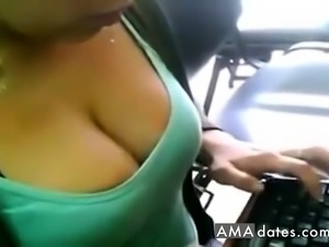 Superhot downblouse of working women in office