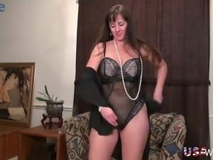 Lewd mature messy haired whore is actually always happy to masturbate