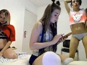 Provoking young babes show off their sexy bodies on webcam