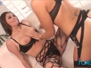 Bosomy babes go lesbian and they both cannot stop fingering wet pussies