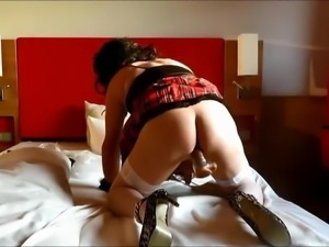 slutty bitch rides her pussy and creamed all