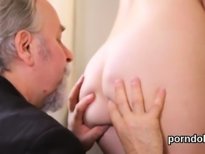 Cute college girl gets seduced and reamed by elderly mentor1