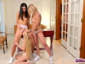 Horny teens teamed tribbing nerdy Kenzies pussy