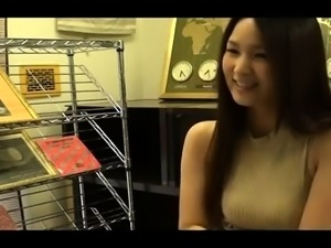 Charming Japanese beauty enjoys a deep doggystyle pounding