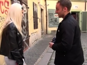 Picked up in the street blondie Blanche Bradburry gets hairy pussy fucked