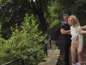Submissive blond head Tina Kay undergoes public disgrace and gets fucked