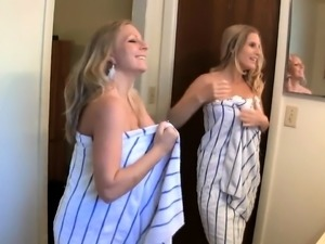 Two busty blonde milfs enjoy lesbian love and share a dick