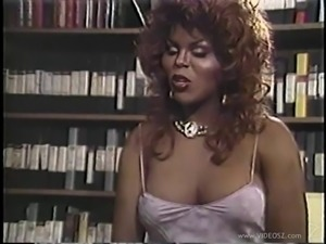 Black shemale has sex with a white guy and his wife in retro clip