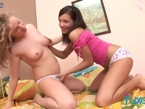 Really lovely lesbians cannot stop teasing and spooning each other