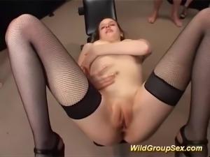 Her first anal bukkake gangbang