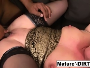 Blonde mature keeps her stockings on for fucking black cock