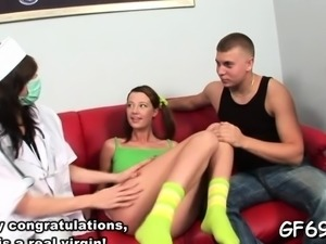 Gorgeous cutie is entertaining two wild and excited hunks